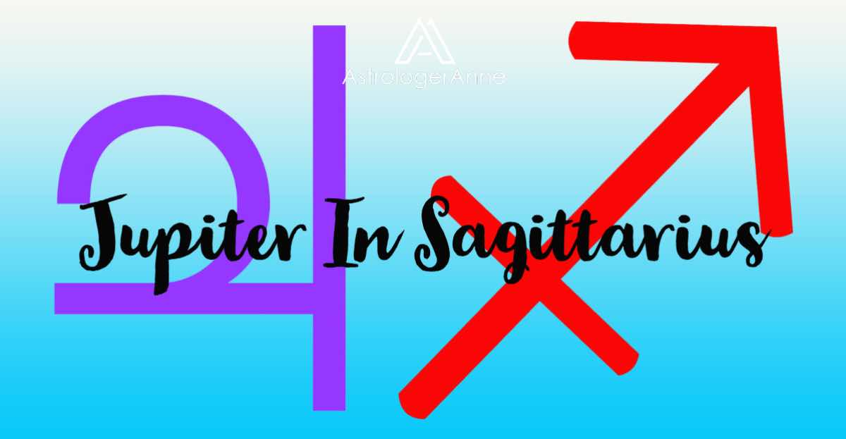 Jupiter in Sagittarius graphic for horoscopes with planet and sign symbols