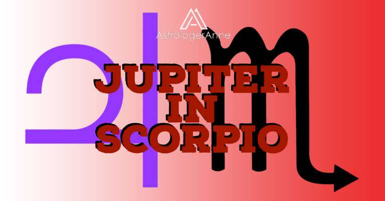 Jupiter in Scorpio graphic with planet and sign symbols