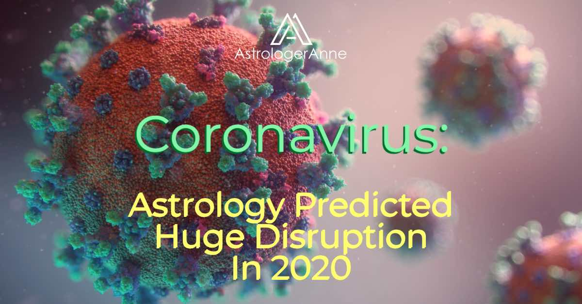 Full color images of coronaviruses, floating in blurred, colored background, with text: Coronavirus - Astrology Predicted Huge Disruption In 2020