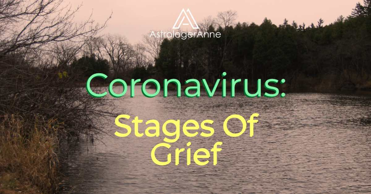 Dark, cloudy day landscape with rippled lake, bare trees - text: Coronavirus Stages Of Grief