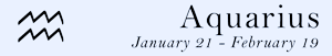 Aquarius zodiac sign symbol and dates