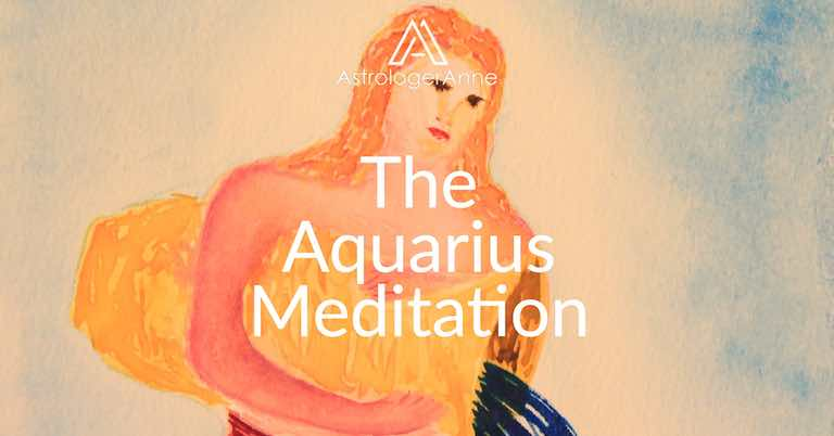 Aquarius meditation - Aquarius watercolor painting by Anne Nordhaus-Bike-all-rights-reserved