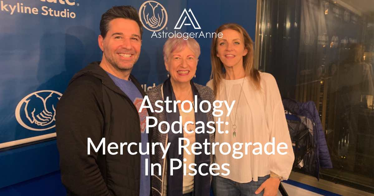 Astrologer Anne Norhdaus-Bike at WGN Radio for Mercury retrograde in Pisces show with Frank Fontana and Kathy Hart